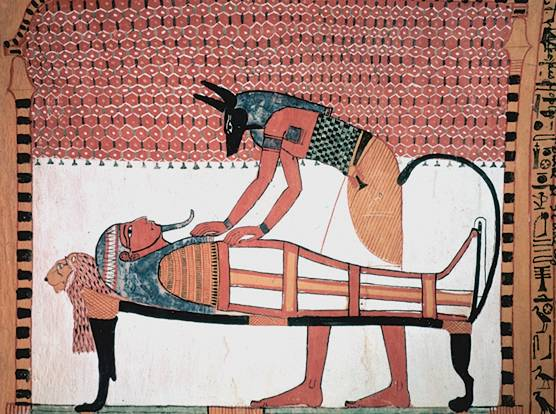 Anubis embalsama el cuerpo del faraón Sennedjem