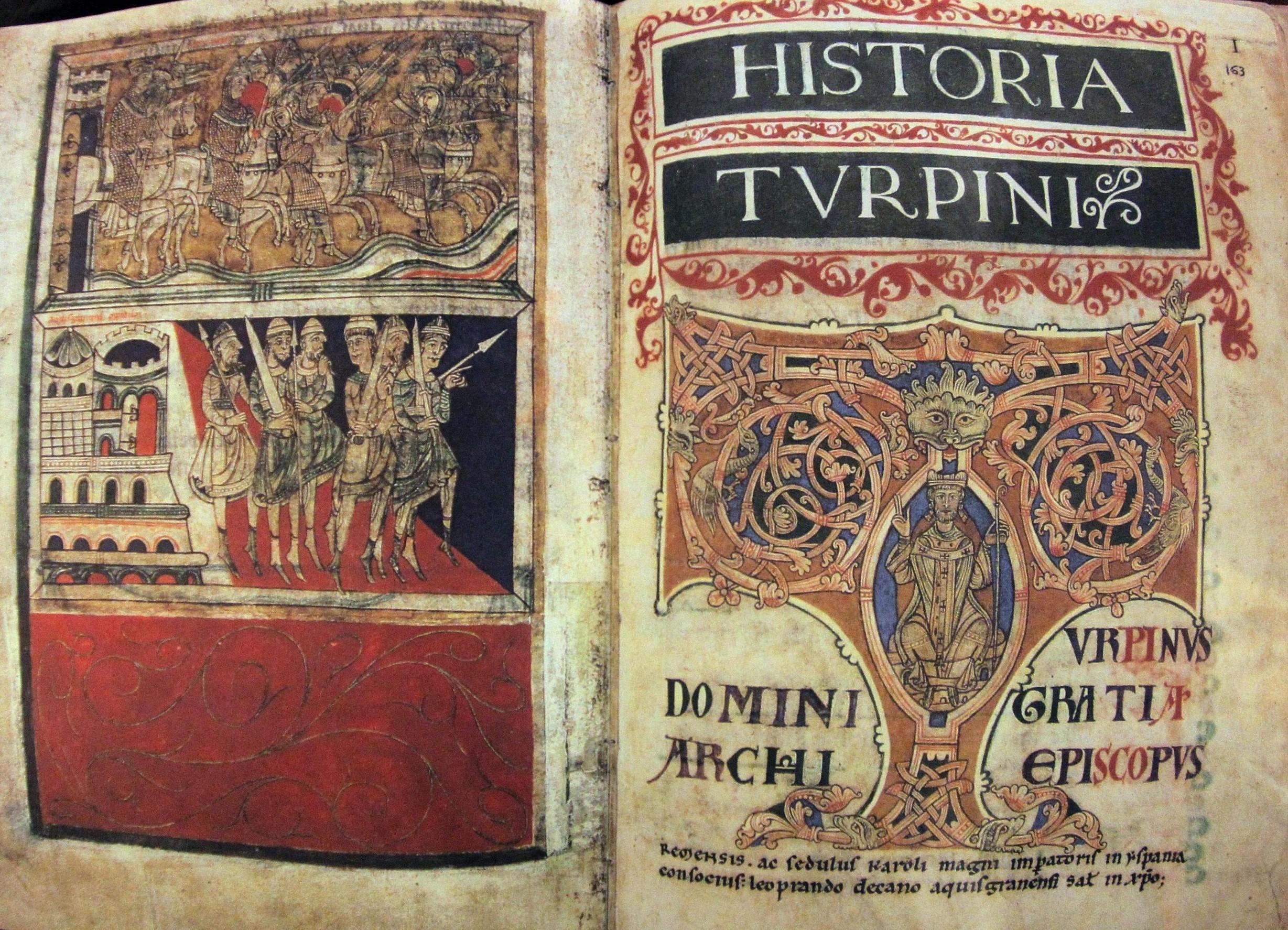 Historia Turpini. Volumen dentro del Codex calixtinus que narra las gestas de Carlomagno contra el infiel gracias a la ayuda del apóstol Santiago