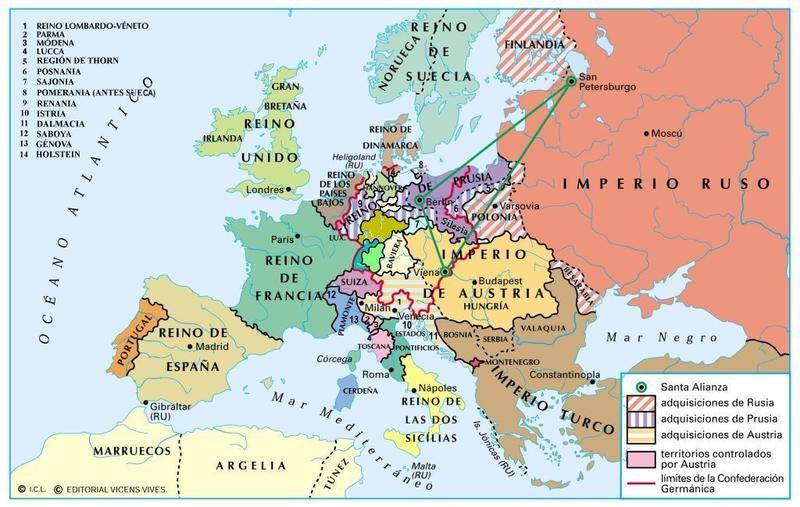 Reorganización europea tras el Congreso de Viena (mapa Ed. Vicens Vives)