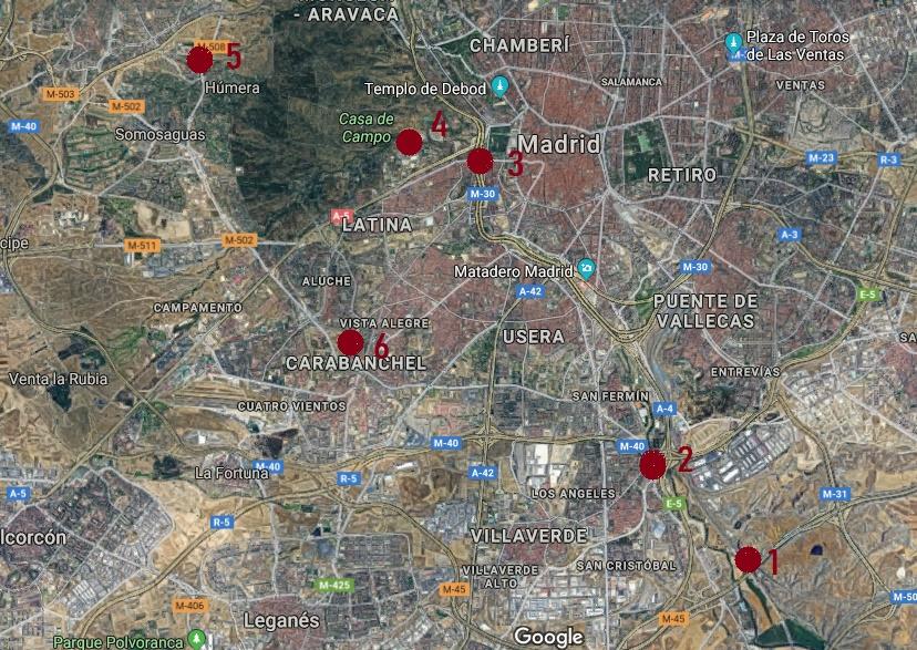Plano de yacimientos romanos en Madrid